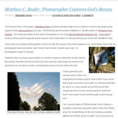 Screenshot_2020-04-26 Matthew C Seufer Photographer Captures God's Beauty - WestBow Press Blog
